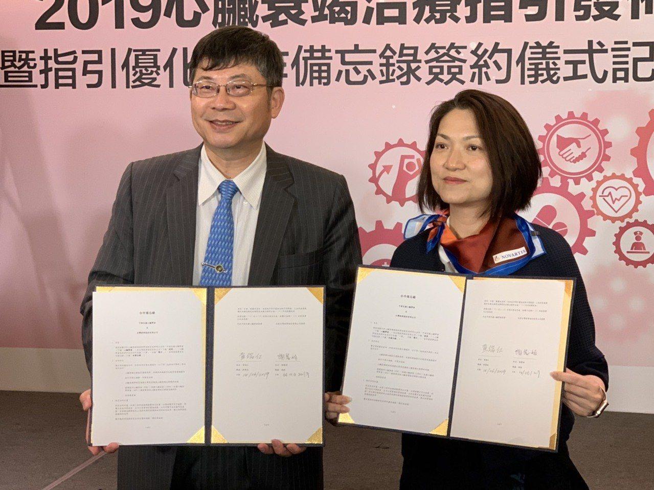 中華民國心臟學會理事長黃瑞仁(左)代表,與台灣諾華總裁謝麗娟(右)今天簽訂合作備...
