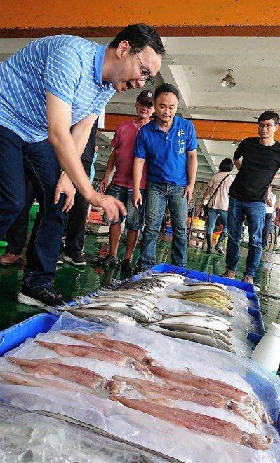朱立倫(左)昨天由林江釧(右)陪同參訪東石漁市,稱讚東石海產新鮮最好吃。 記者卜...