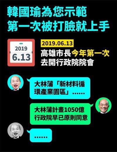 行政院長蘇貞昌臉書釋出前天韓國瑜參加行政院會臉書後,綠黨就參考影片製作模擬LIN...