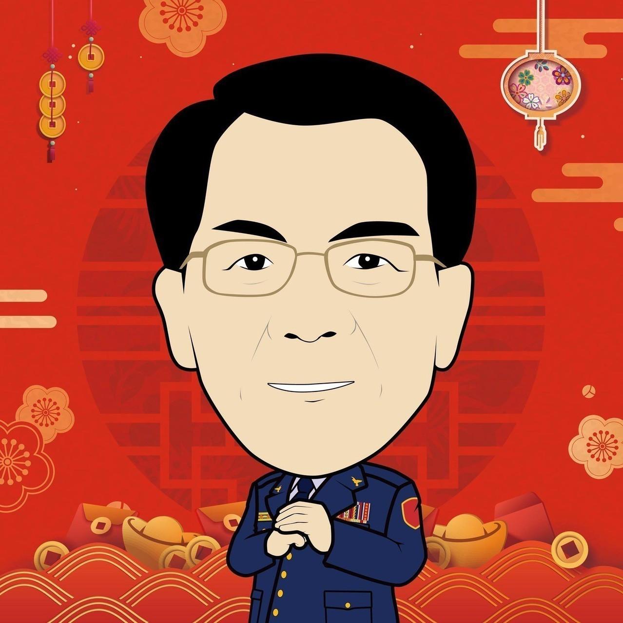 不只時尚限定,「TCPB局長室」台中市警局長楊源明頭像也玩換裝秀,圖為應景農曆新...