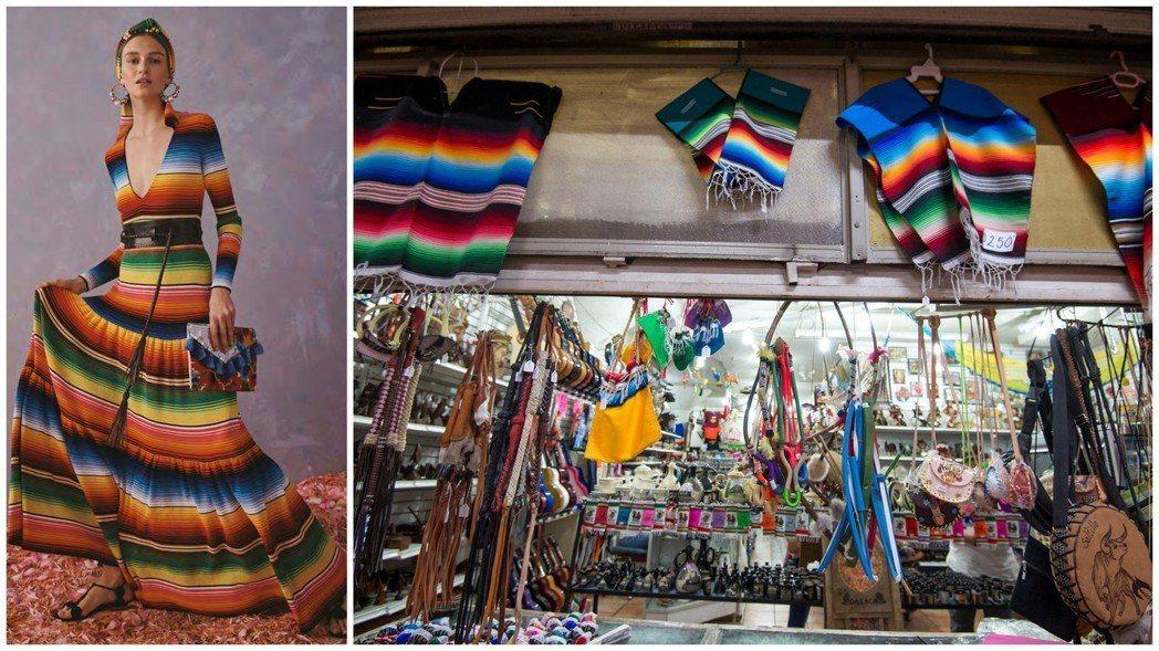「卡羅琳娜・海萊拉」這款條紋針織襯衫連衣裙(左圖)的圖案,被控與墨西哥東北部科薩...