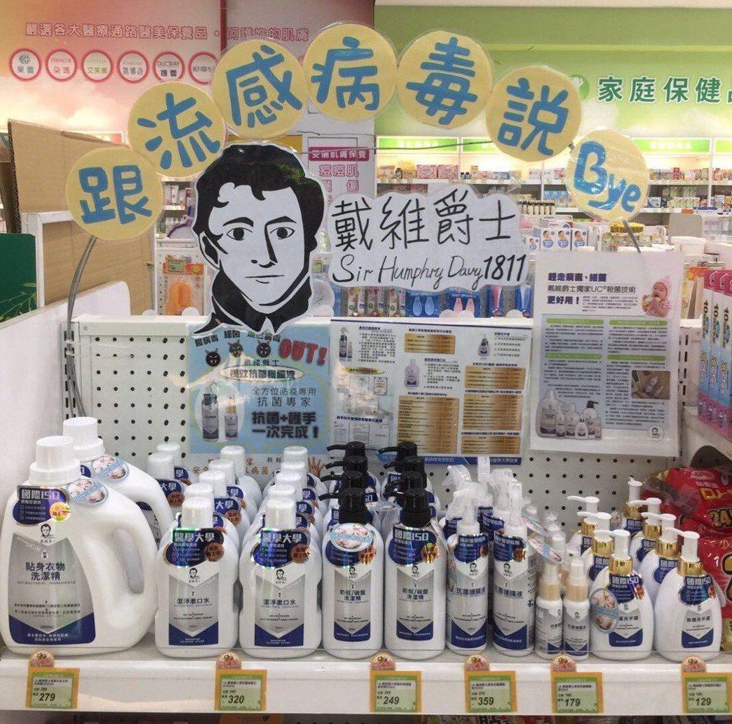 戴維爵士系列產品在藥局通路上,是搶手的明星商品。 優尼克/提供