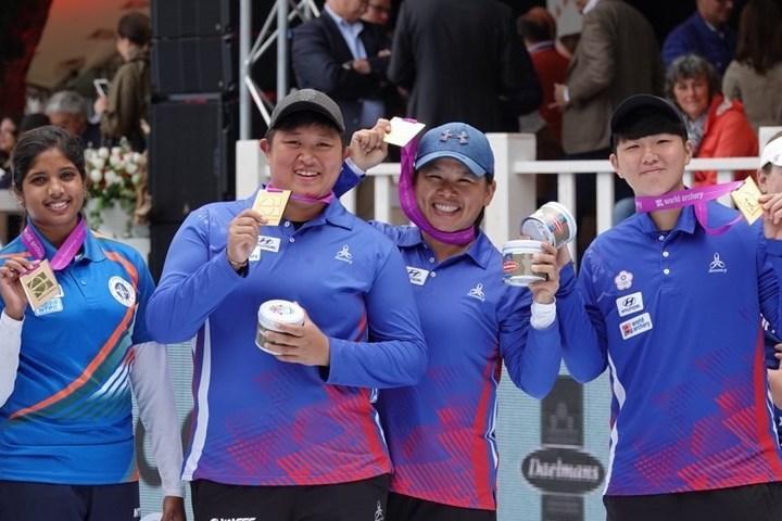 中華隊15日飆出幾近完美的58與59分順利逆轉戰局,複合弓女子團隊相隔20年後再...