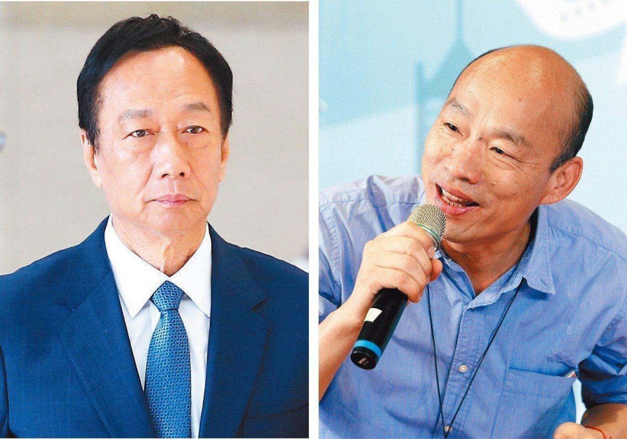 網友票選國民黨郭台銘(左)、韓國瑜(右)誰對蔡英文來說比較好對付,認為韓比較好打...