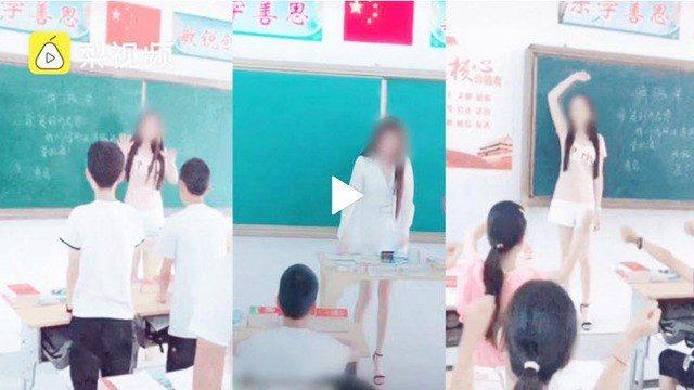 女子擅自進入小學內拍攝抖音影片。圖/取自《梨視頻》
