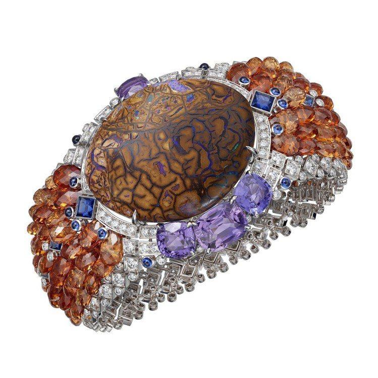 卡地亞MAGNITUDE頂級珠寶系列ZEMIA手環,白K金鑲嵌77.27克拉凸圓...