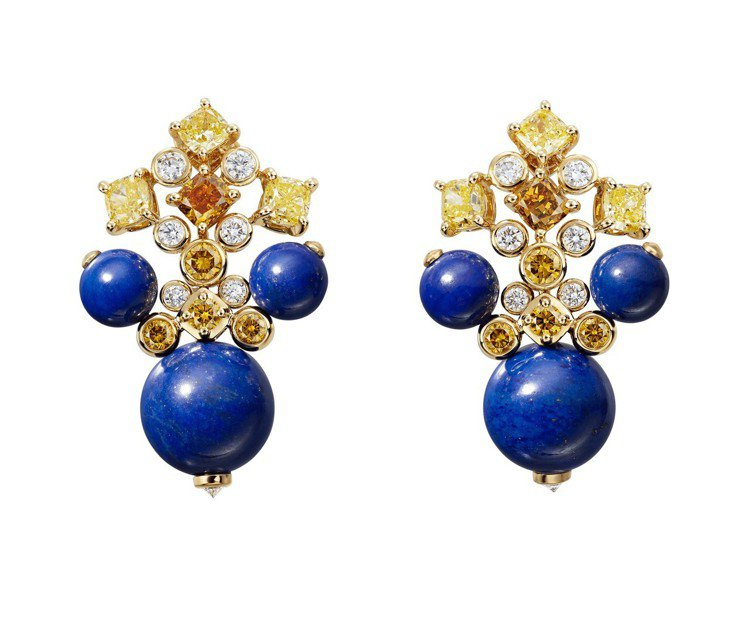 卡地亞MAGNITUDE頂級珠寶系列ÉQUINOXE耳環,黃K金鑲嵌青金石圓珠...