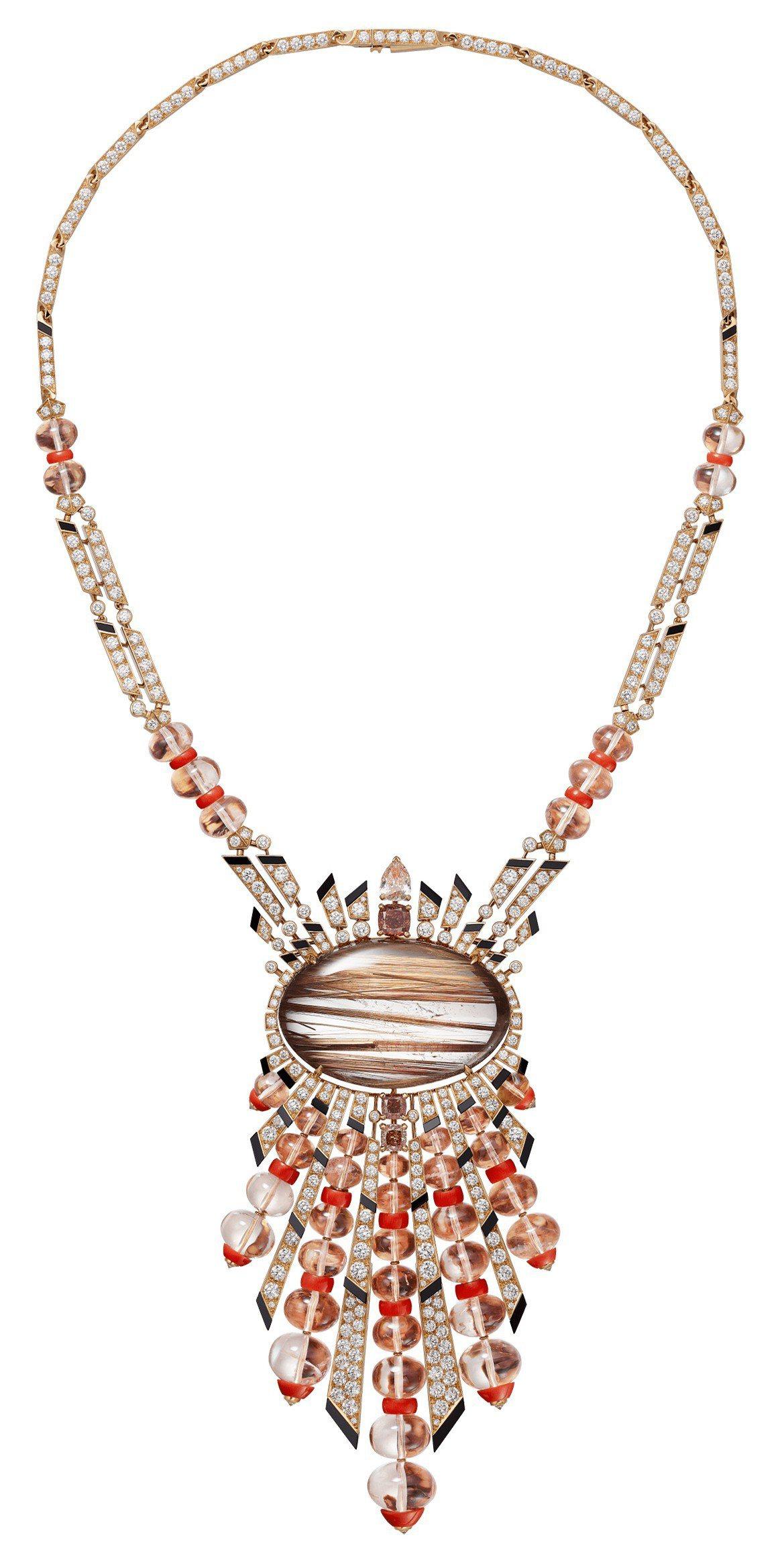 卡地亞MAGNITUDE頂級珠寶系列APHÉLIE項鍊,玫瑰金鑲嵌68.85克...