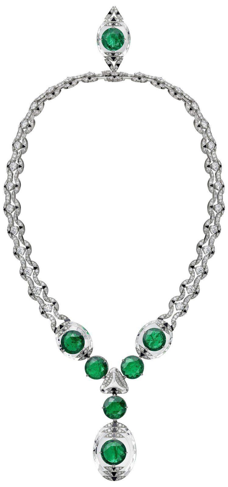 卡地亞MAGNITUDE頂級珠寶系列THÉIA項鍊,鉑金鑲嵌7顆圓形哥倫比亞祖...