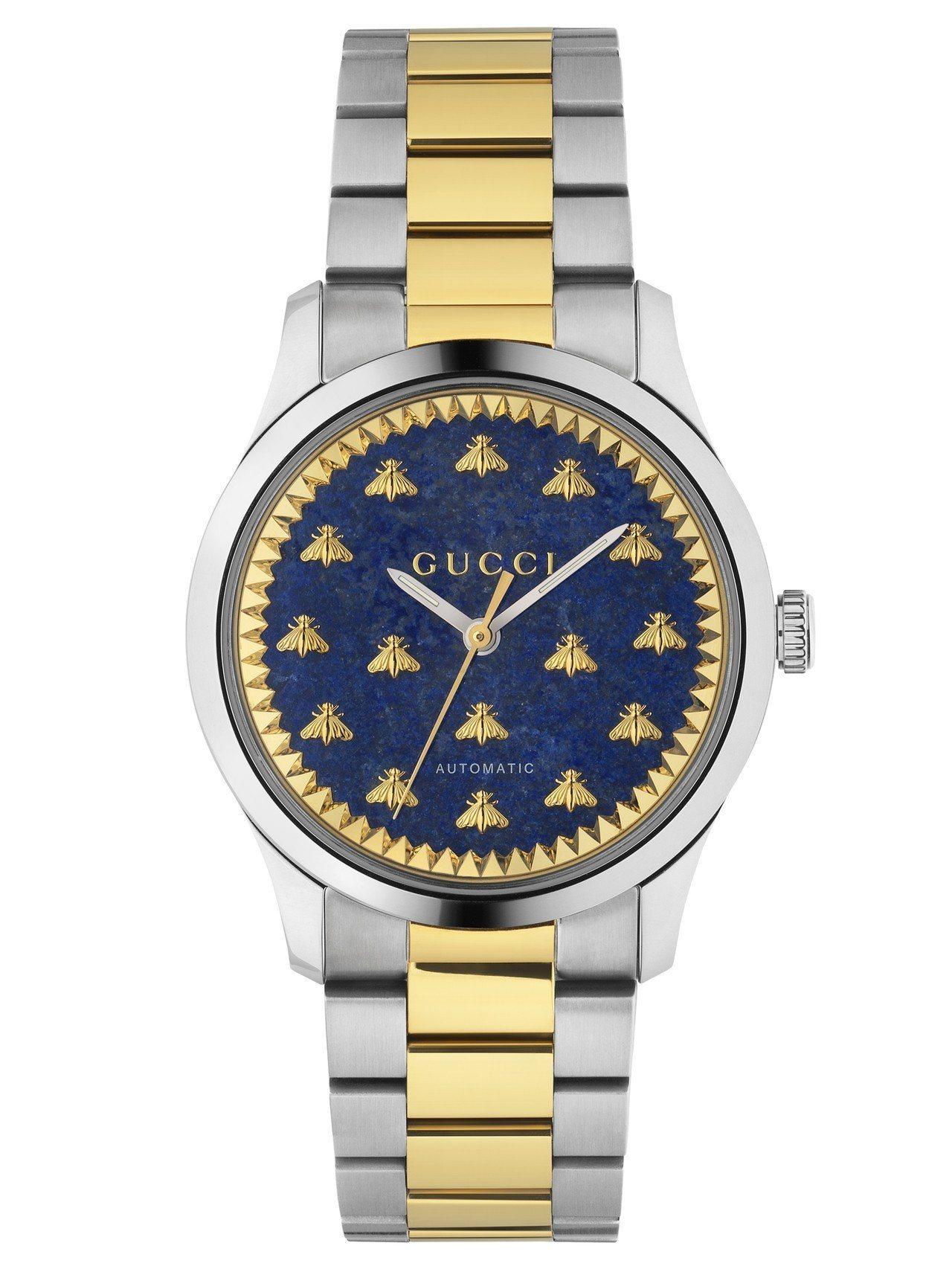 G-Timeless 38毫米自動上鍊腕表,不鏽鋼表殼、藍色青金石及金色蜜蜂裝飾...