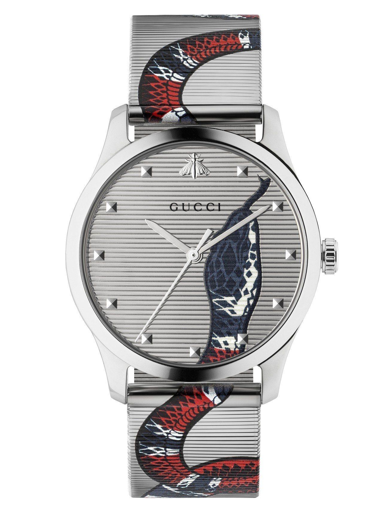 G-Timeless 38毫米自動上鍊腕表,不鏽鋼表殼、不鏽鋼織網表面彩繪蛇首、...