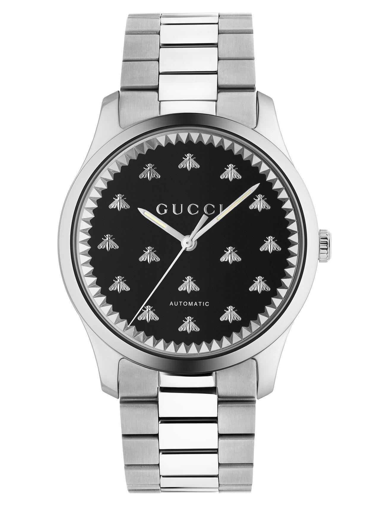 G-Timeless 42毫米自動上鍊腕表,不鏽鋼表殼、黑色瑪瑙石及銀色蜜蜂裝飾...
