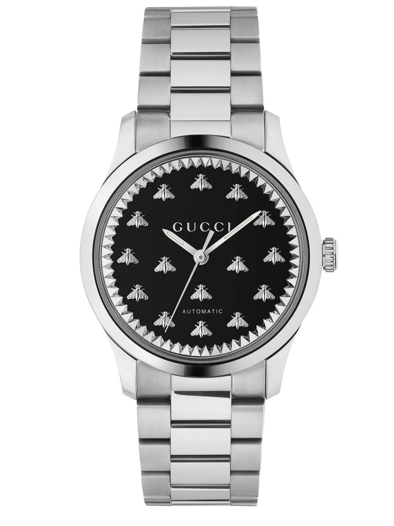 G-Timeless 38毫米自動上鍊腕表,不鏽鋼表殼、黑色瑪瑙石及銀色蜜蜂裝飾...