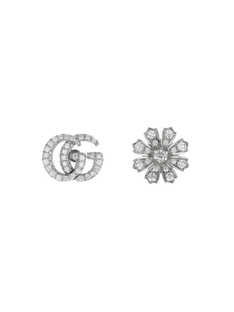 Gucci Flora 18K白金GG與花卉圖案鑲嵌鑽石與珍珠耳環,23萬1,2...