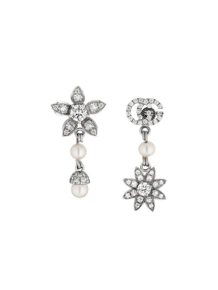 Gucci Flora 18K白金GG與花卉圖案鑲嵌鑽石與珍珠耳環,15萬8,5...