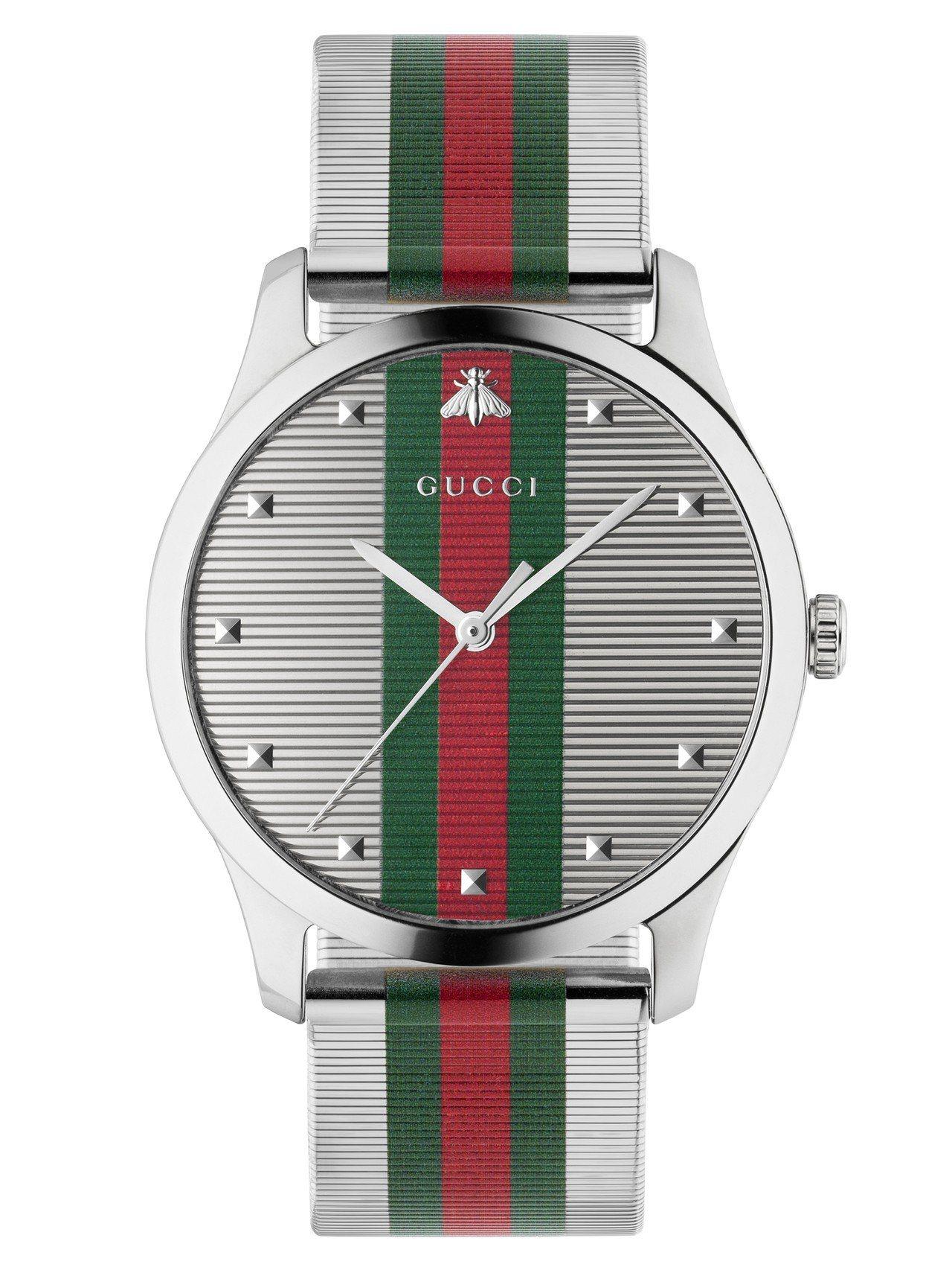 G-Timeless- 42毫米自動上鍊腕表,不鏽鋼表殼、不鏽鋼織網表面及表帶裝...
