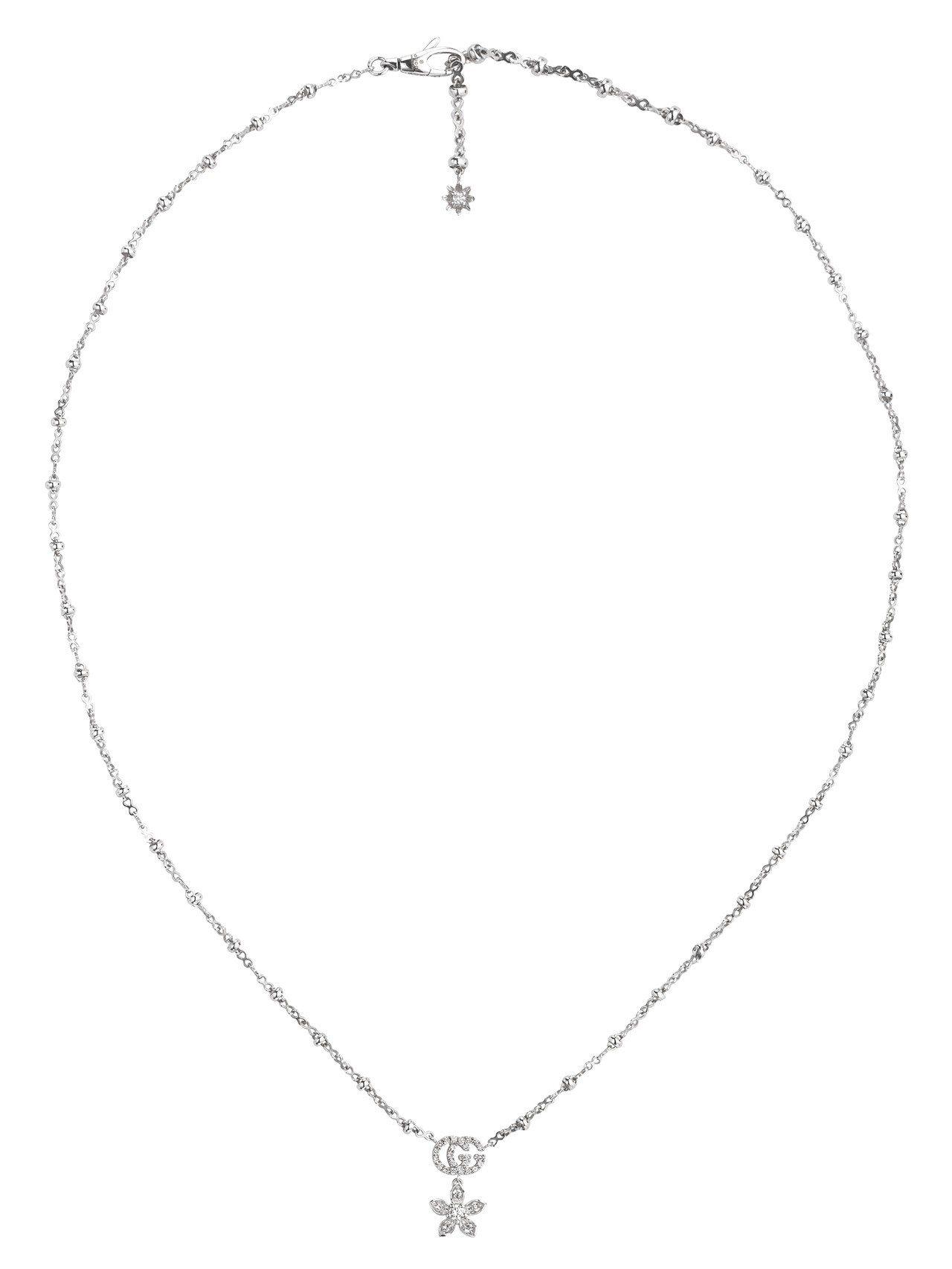 Gucci Flora 18K白金GG與花卉鑽石項鍊,12萬6,000元。圖/古...