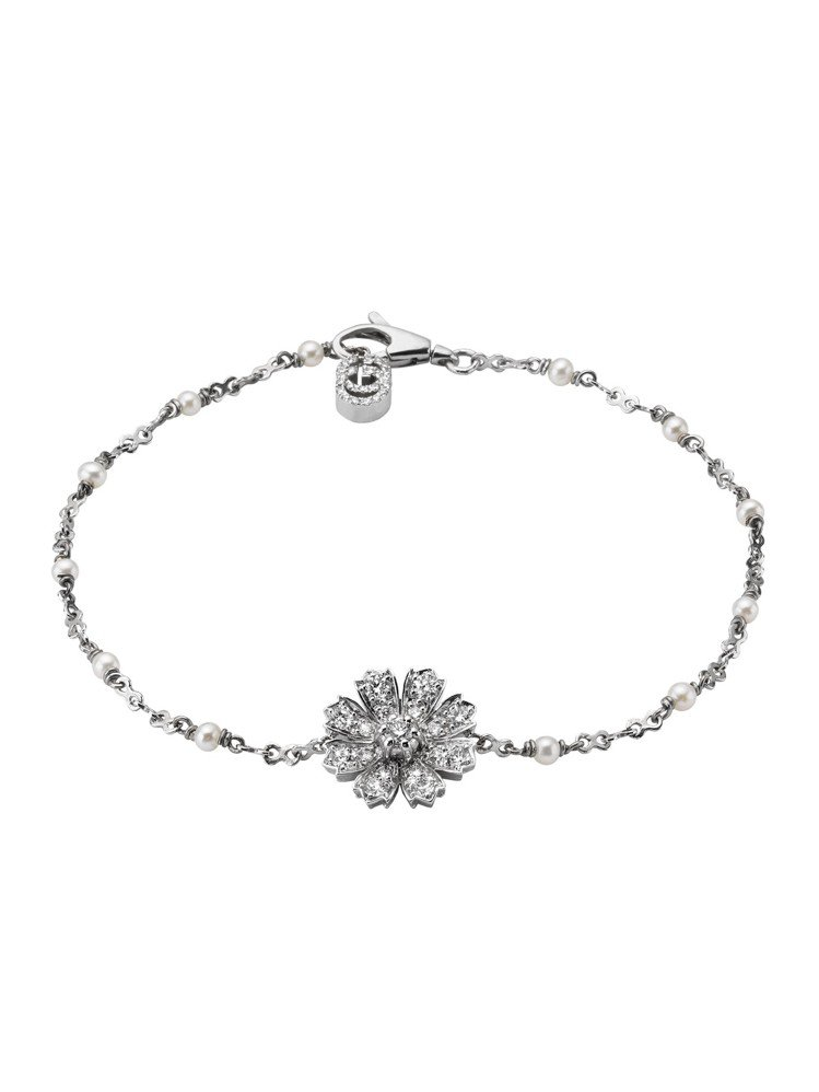 Gucci Flora 18K白金GG與花卉圖案鑲嵌鑽石與珍珠手鍊,15萬0,5...