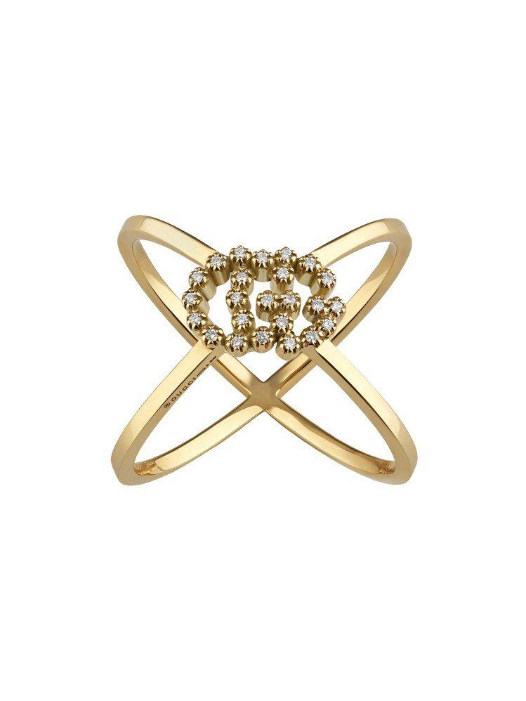 GG Running 18K黃金G字鑽石戒指,45,300元。圖/古馳提供