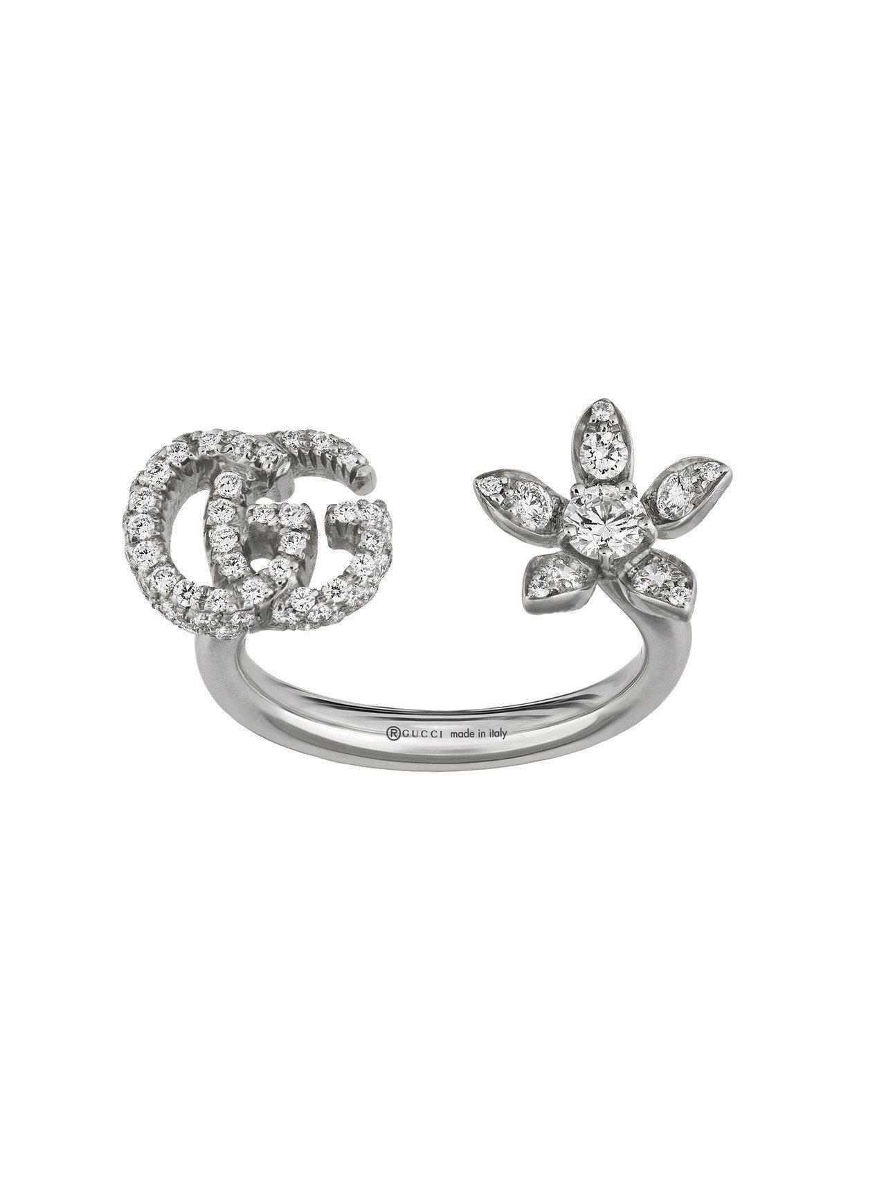 Gucci Flora 18K白金GG與花卉鑽石戒指,15萬8,500元。圖/古...