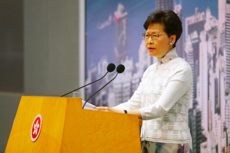 香港特首林鄭月娥下午宣布暫緩修例。特派記者王騰毅/攝影