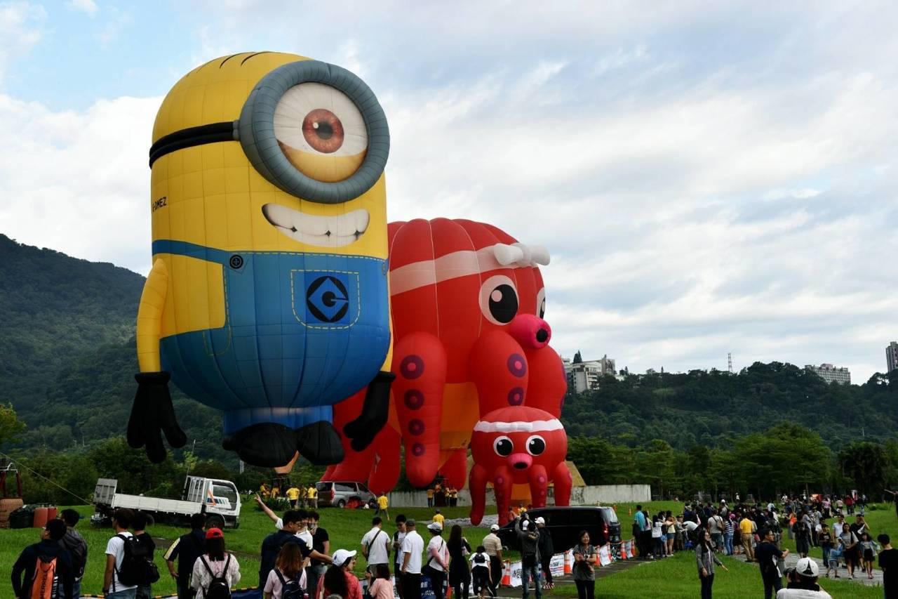 「小小兵Minions」造型熱氣球首度來到桃園亮相,日本章魚也很可愛。 圖/桃園...