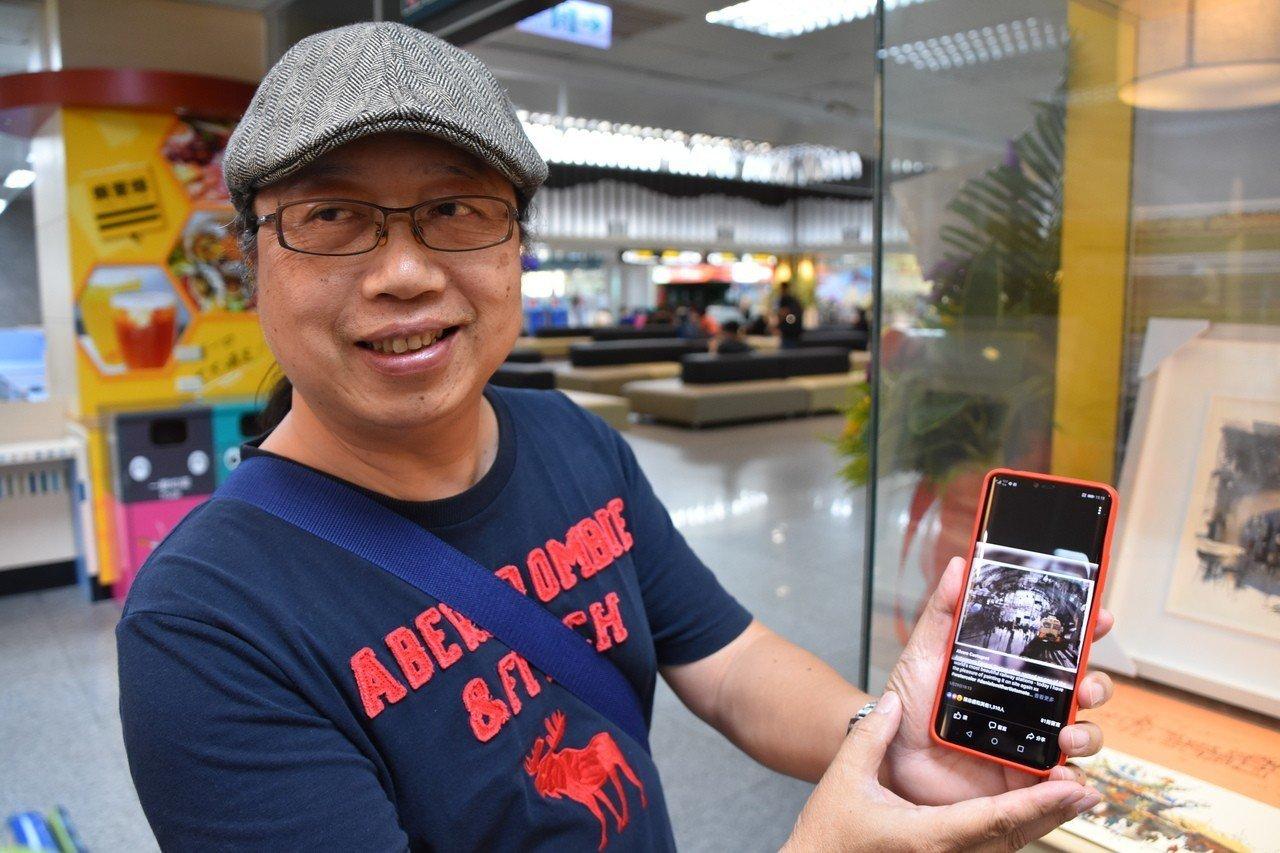 金門知名畫家楊文斌培育出小畫家兒子楊宸安,他秀出手機內的阿瓦羅畫作,不少人都說,...