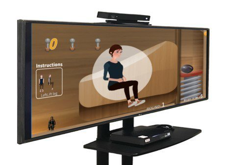 龍骨王以3D深度感測器開發的體感復健系統,將乏味的復健加入趣味、互動的元素,可以...
