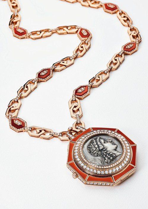 寶格麗Monete系列珠寶長鍊表,全球僅1只,鑲嵌西元2世紀古幣,價格未定。圖/...