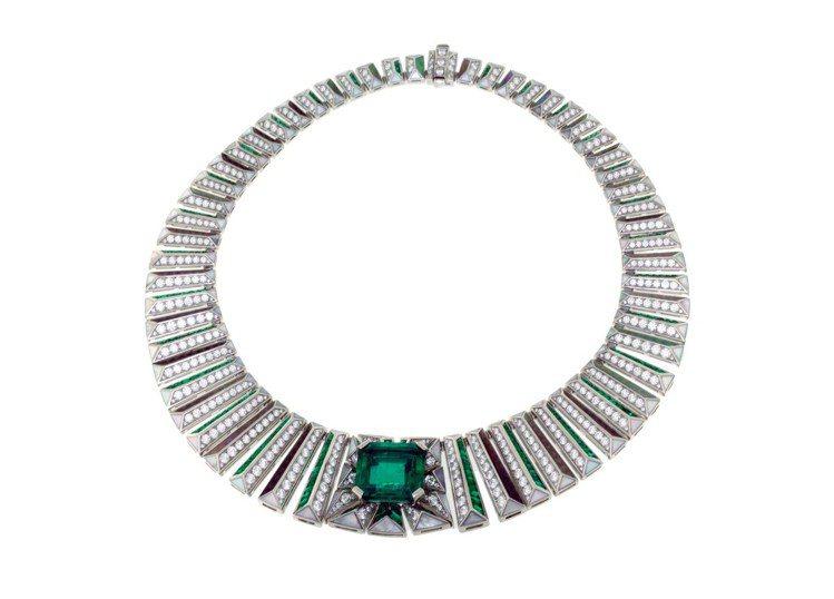 寶格麗Emerald City頂級祖母綠與鑽石項鍊,主石為方形切割尚比亞祖母綠,...