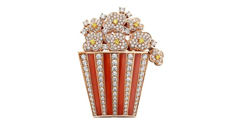 寶格麗Cinemagia系列Popcorn頂級珊瑚與鑽石胸針,價格未定。圖/BV...