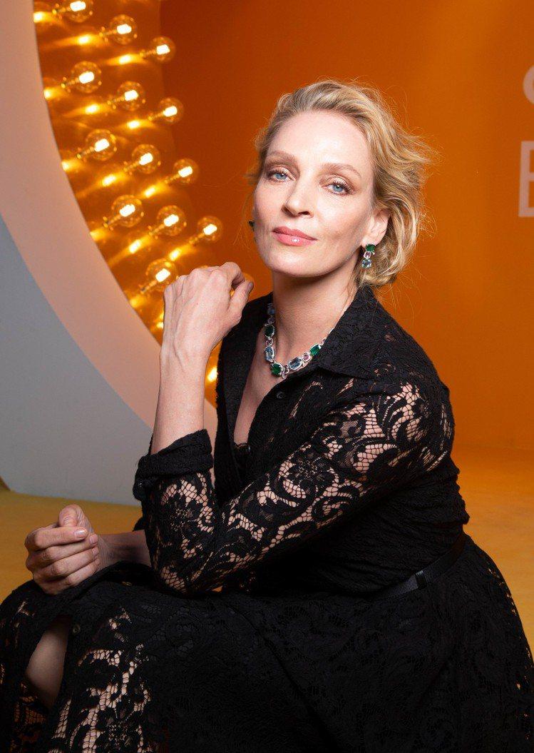 好萊塢女星Uma Thurman優雅出席寶格麗Cinemagia系列頂級珠寶發表...