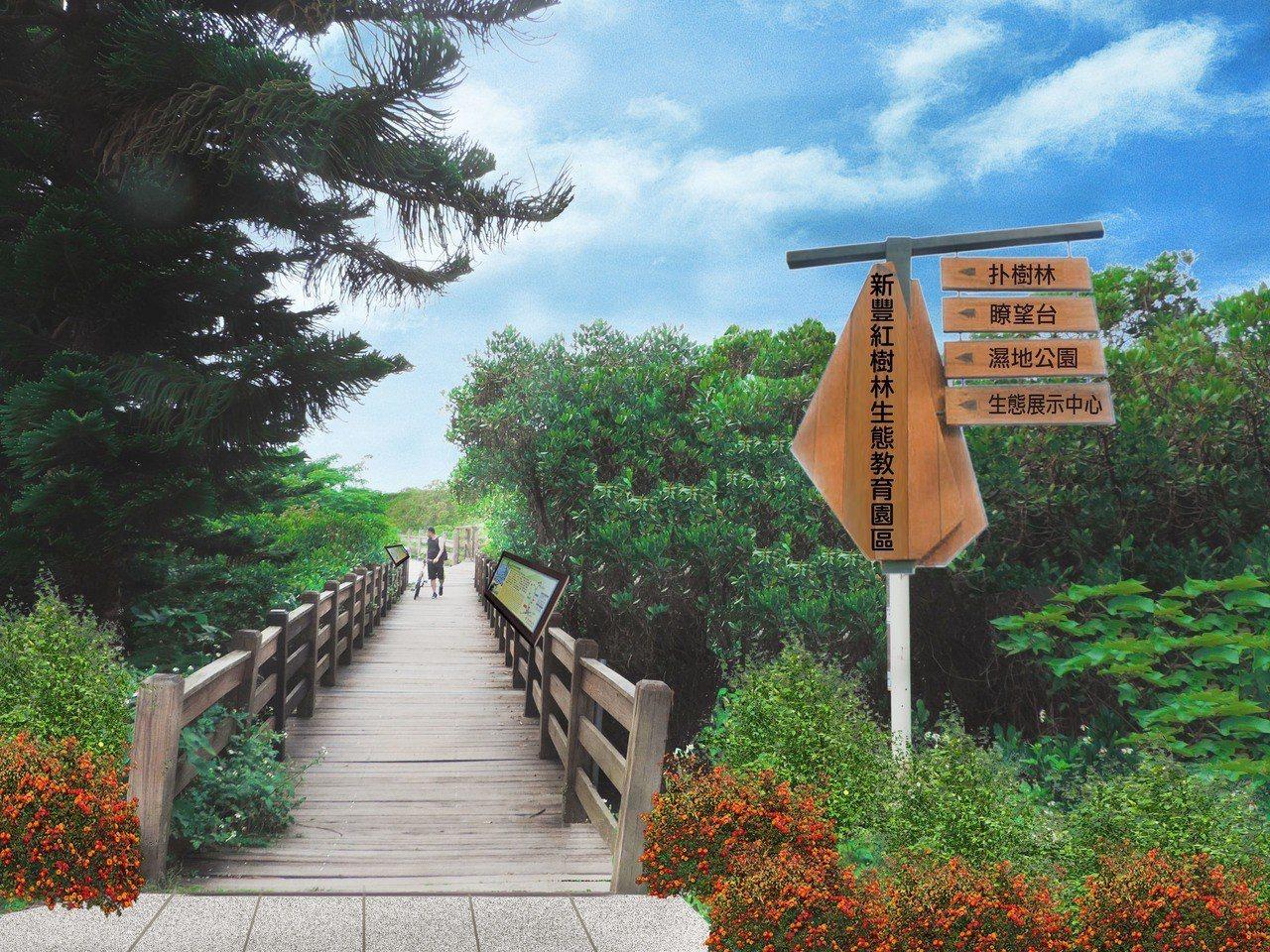 新竹縣新豐紅樹林未來的新豐自行車道標系。圖/縣府提供