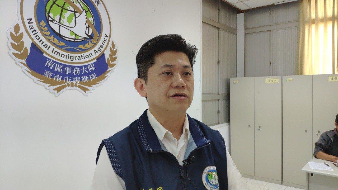移民署台南市專勤隊熊德仁呼籲來台勿抱僥倖非法打工。記者謝進盛/翻攝