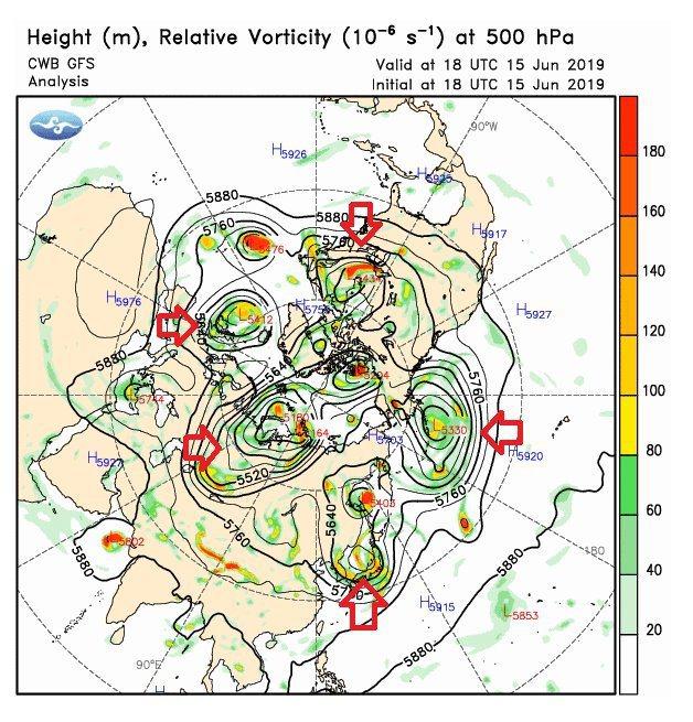 鄭明典表示,西風帶不見了。中緯度的西風帶應該環繞一圈,現在變成一團、一團的圈圈小...