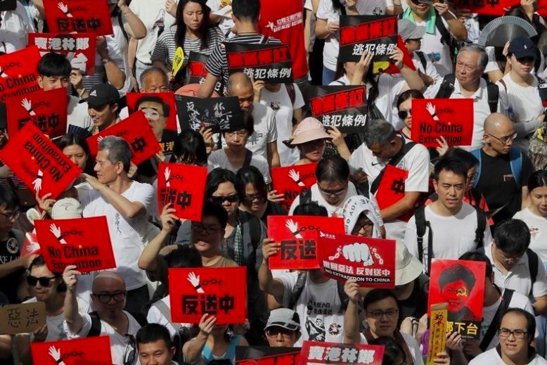 香港反送中遊行。 美聯社