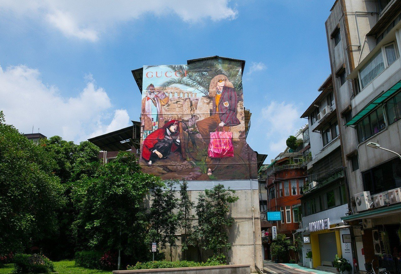Gucci台北永康街藝術牆近日和其他城市同步變身換上2019早秋系列主題。圖/G...