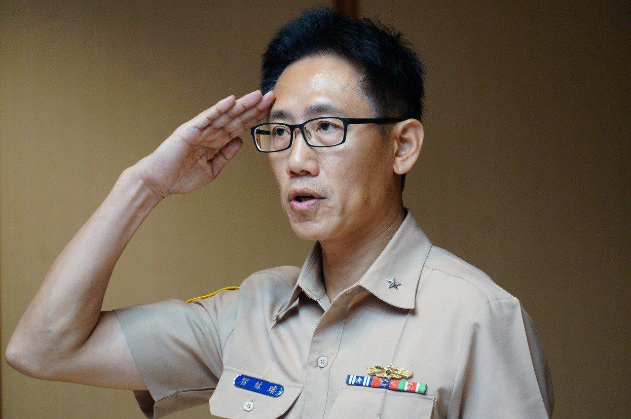 海軍艦隊指揮部今天下午出面開記者會,大台軍艦所屬的192艦隊少將艦隊長賀紘璿。記...