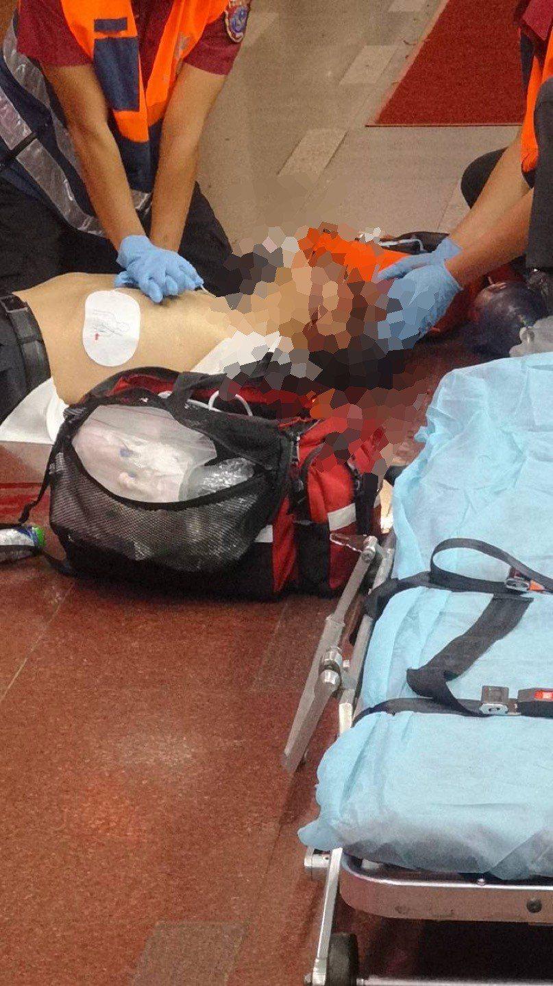 男子受傷送醫。。記者蕭雅娟/翻攝