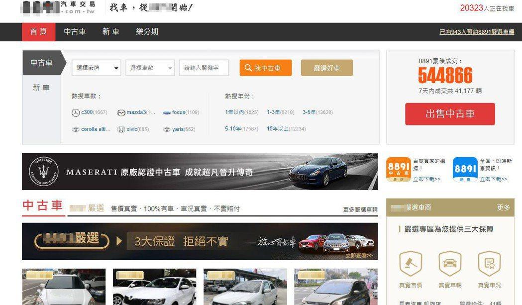 集團在8891汽車交易網、YAHOO中古車等售車網站,刊登低於市場行情的二手車廣...