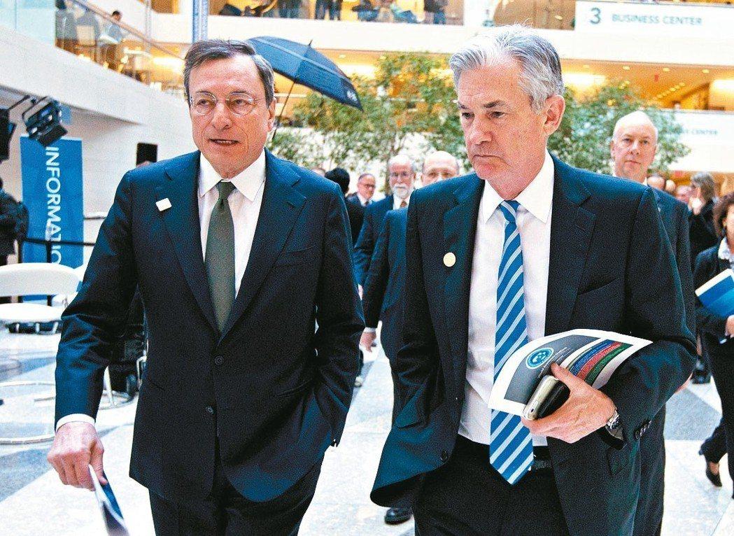 本周進入「超級央行周」,多國將召開會議。圖為Fed主席鮑爾(右)與ECB總裁德拉...