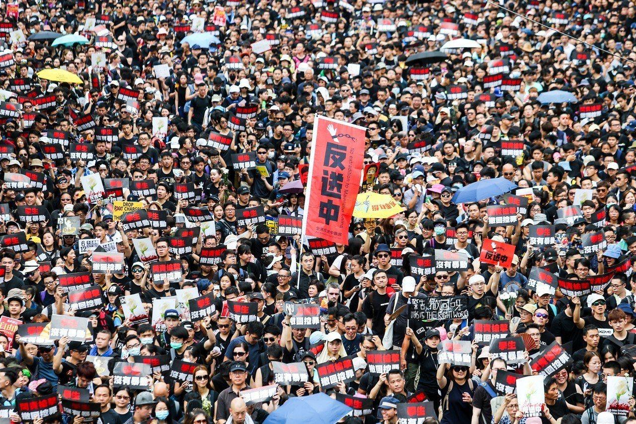 圖為香港反送中大遊行。 聯合報系資料照/聯合報特派記者王騰毅攝影