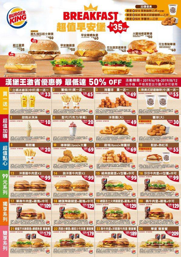 漢堡王全新優惠券。 圖/漢堡王提供