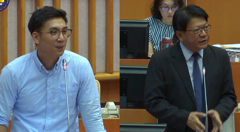 屏東縣議員陳揚(左)今在議會質詢指出,位於屏東市的青創基地啟用迄今,並沒有達到預...