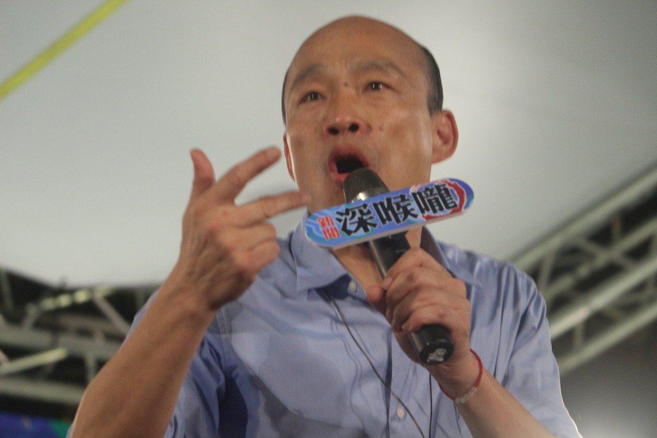 高雄市長韓國瑜於鳳山區五甲龍成宮接受新聞深喉嚨採訪。記者邱奕能/攝影