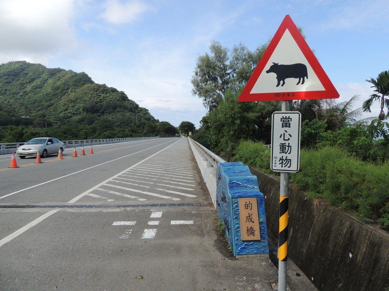 省道東海岸公路發生牛隻上街閒逛導致交通事故,公路總局特別在路旁豎立「當心動物」警...