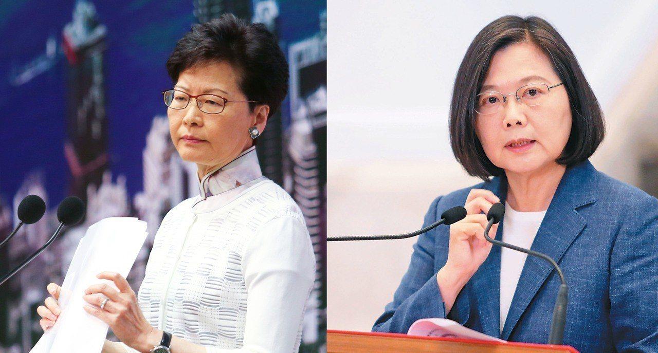 香港特首林鄭月娥與台灣總統蔡英文。報系資料照