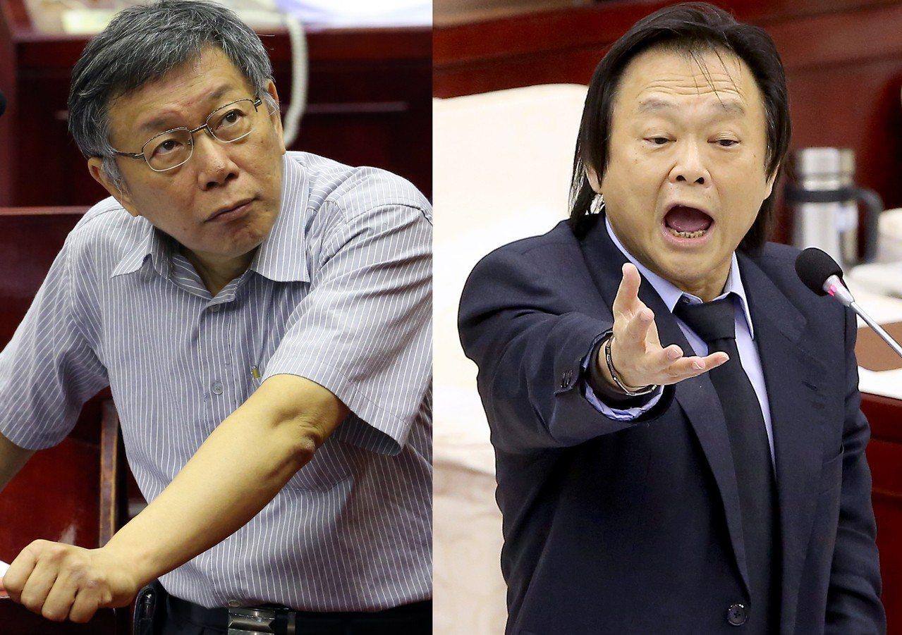 台北市長柯文哲與民進黨市議員王世堅。報系資料照