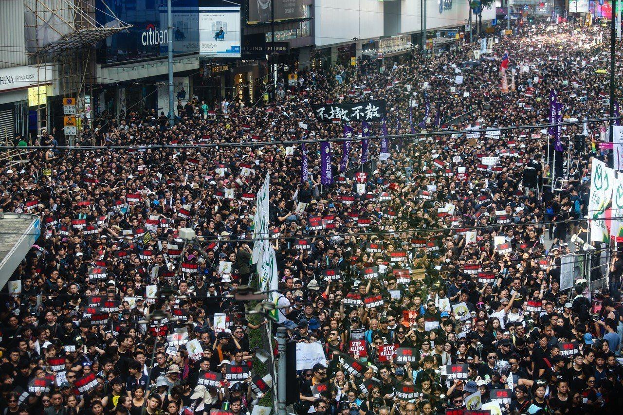 香港反送中大遊行16日參與人數再破百萬。 聯合報系資料照/特派記者王騰毅攝影