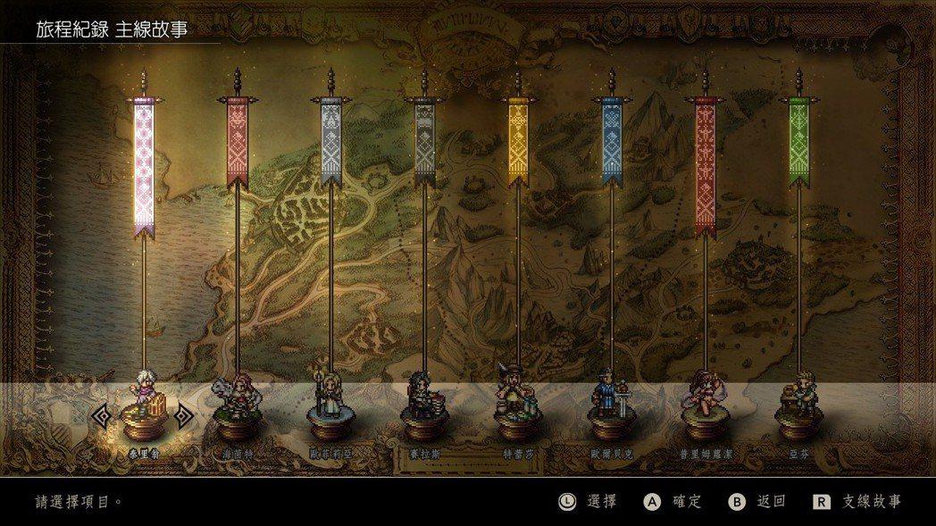 遊戲中可以透過系統選單觀看每位主角的劇情到什麼進度。